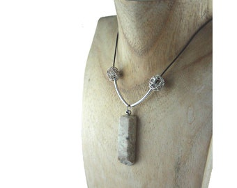 "Long STONE SILVER NECKLACE ""Langeness"" leather sterling silver, natural brownish hand-carved stone pendant leather strap, free shipping gift"