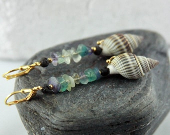 """Golden SEA SHELL dangle earrings """"SIBBY"""" multicolored Fluorite Sterling Silver gold-plated natural earrings black lava bead sustainable gift"""