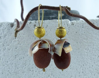 """GOLDSTONE SHELL gold plated Sterling SILVER earrings """"Sibyl"""", dangle statement sustainable ecofriendly one-of-a-kind Bridal Jewelry gift"""