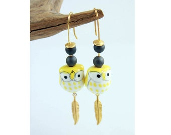 SUELA PORCELAIN OWL golden Feather earrings, long dangle handpainted earrings, cute animal jewelry hematite beads unique girls animal gift