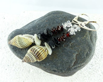 SHEILA stunning GARNET EARRINGS with rock crystal smoky quartz and sea shells Sterling Silver one-of-a-kind sexy earrings  gift