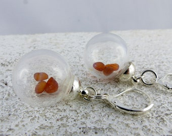 """GLASSBOWL AMBER earrings """"SUUNA"""" filled glass bowl dangle sterling silver earrings, summer beach look jewelry one-of-a-kind sustainable gift"""