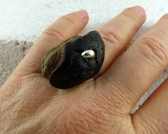 TALIS adjustable DRIFTWOOD SILVER ring, one-of-a-kind wooden sustainable jewelry, natural look eco-friendly handmade gift
