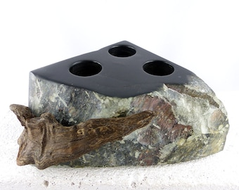 TIBALD deep black STONE DRIFTWOOD candle holder for three candles, steatite art object, stone sculpture home interior design, unique Gift