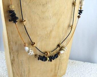 Free Shipping! NORDEROOG necklace with SMOKEY QUARTZ, cork Kalahari jasper seashells natural design Boho-style, unique womans Christmas gift