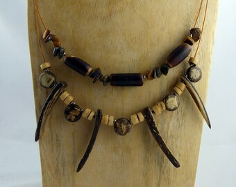 "SUSTAINABLE FASHION NECKLACE ""Rhunu"", mixed materials design with Coconut, Tigereye, Cork, Sterling silver, Hippie Boho-style jewelry gift"