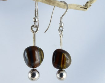 """JASPER Sterling SILVER dangle EARRINGS """"Siham"""", best friend birthday gift, brown silver statement Boho Gothic one-of-a-kind Bridal Jewelry"""