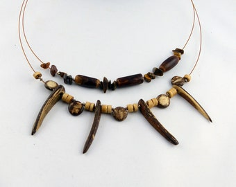 RUHNU mixed design necklace with COCONUT, TIGEREYE, cork und Sterling silver, Hippie Boho-style one of a kind sustainable free shipping gift