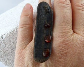 """Free Shipping! """"TIALF"""" ADJUSTABLE SILVER Driftwood Ring with amber natural sustainable fashion ecofriendly silver jewelry unique womans gift"""