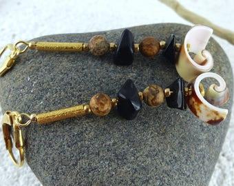"Natural design GOLD-FILLED Sterling Silver dangle EARRINGS ""Selina"", smokey quartz sea shell Kalahari jasper sustainable jewelry womans gift"