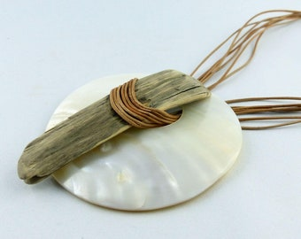 GOTLAND DRIFTWOOD NECKLACE white mother-of-pearl eco-friendly nacre necklace wooden reclaimed wood unique organic womans free shipping gift