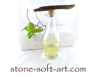 StoneSoft's BOTTLE Nº 3 - OIL and VINEGAR Set vintage glass bottle driftwood cork kitchen dining accessory table decor, free shipping gift