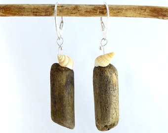 SHELLY DRIFTWOOD SEASHELL Sterling Silver earrings, unique jewelry dangle statement sustainable, ecofriendly reclaimed wood womans gift