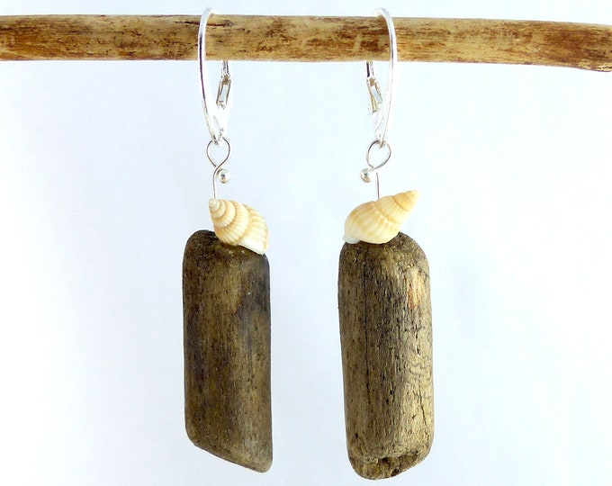 Featured listing image: SHELLY DRIFTWOOD SEASHELL Sterling Silver earrings, unique jewelry dangle statement sustainable, ecofriendly reclaimed wood womans Xmas gift