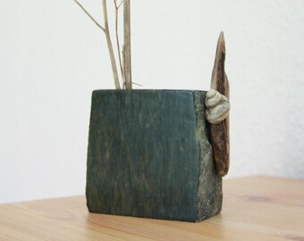 NIÖRD unique STONE VASE Driftwood steatite vase handcrafted home interior, sea shell & stone sculpture one-of-a-kind natural design gift