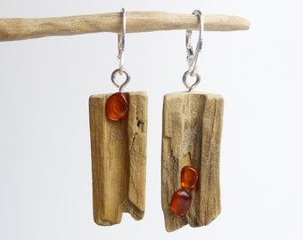 """DRIFTWOOD AMBER Sterling SILVER Earrings """"Sookie"""", handmade unique dangle sustainable jewelry, eco friendly reclaimed wood womans girls gift"""