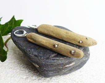 UNIQUE Sterling SILVER DRIFTWOOD Earrings 'Sita', handmade dangle sustainable jewelry, eco friendly reclaimed wood womans girls lovers gift
