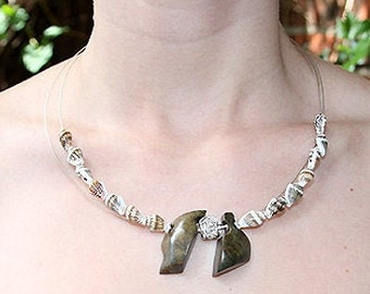 One-of-a-kind Gift! Sterling SILVER STATEMENT NECKLACE stone sea shells, brown marbled steatite, handmade jewelry Birthday Mother's day gift