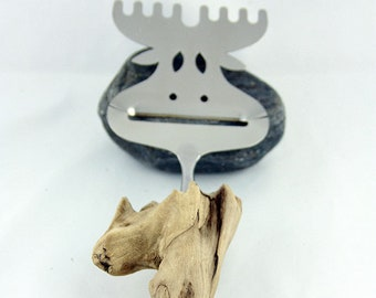 """DRIFTWOOD CHEESE CUTTER """"Elk Morton"""", Moose cheese knife with driftwood handle, Dining accessory unique cutlery eco friendly reclaimed wood"""