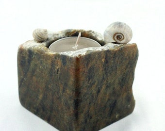TOIVO TEA LIGHT holder handcarved stone sculpture candle stick, Sea Snail Shell steatite art object, sustainable home design unique gift