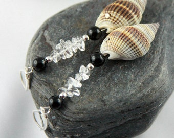 STELLA ONYX Sterling Silver dangle earrings with rock crystal and sea shells, one-of-a-kind earrings black onyx bead sustainable lovers gift