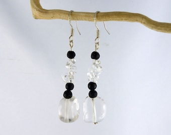 """Rock CRYSTAL Lava Sterling Silver dangle earrings """"SUSZA"""", one-of-a-kind eco-friendly, BDSM sub clearness transparent black Birthday gift"""