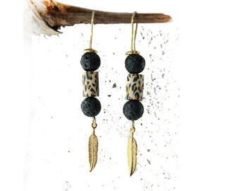 SHAKIRA - golden dangle earrings with leo print polimer clay beads, sterling silver gold-plated, black lava, animal print Free Shipping gift