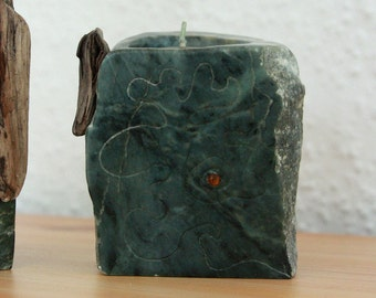 MORTEN Stone TEA LIGHT candle holder Soapstone art object sculpture natural Home Interior decor handcarved design eco organic Christmas Gift