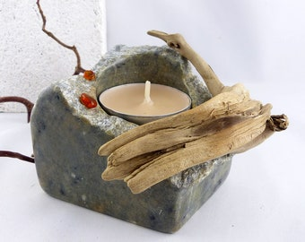 WIM handcarved STONE Tea Light Holder with Driftwood and AMBER, steatite tealight stone candle light sustainable interior design unique gift