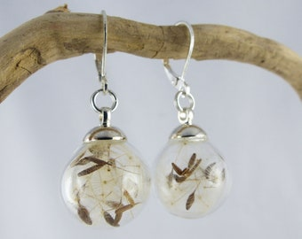 SACHIKO GLASSBOWL DANDELION earrings, glass bowl dangle sterling silver earrings, summer jewelry, one-of-a-kind Christmas gift Free Shipping