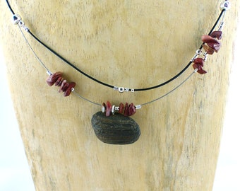 HOOGE stunning DRIFTWOOD GARNET necklace Sterling Silver beads natural jewelry wooden necklace, sustainable one-of-a-kind free shipping gift