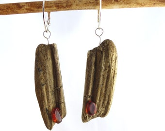 SABIA AMBER DRIFTWOOD Sterling Silver earrings, genuine amber jewelry dangle statement sustainable, ecofriendly reclaimed wood womans gift