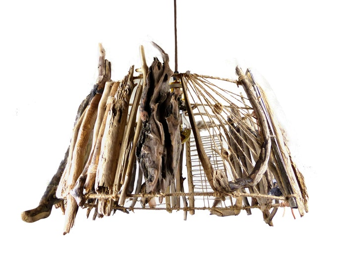 "Featured listing image: Unique CEILING DRIFTWOOD LAMP ""Oslo"" Drop Light pendant, Made to order! sustainable wooden lamp shade, natural upcycled Interior Home Design"