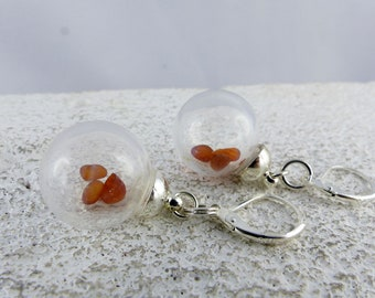 SUUNA GLASSBOWL AMBER earrings, glass bowl dangle sterling silver earrings, summer look jewelry, one-of-a-kind Birthday gift, Free Shipping