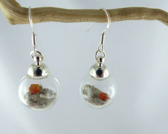 SONIA UNIQUE GLASSBOWL earrings with genuine Amber and beach sand, dangle sterling silver summer look jewelry, one-of-a-kind Free Shipping