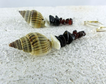 SHEILA stunning GARNET EARRINGS with rock crystal smoky quartz and sea shells Sterling Silver one-of-a-kind sexy earrings Free Shipping gift