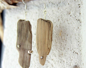 SWENJA - DRIFTWOOD Sterling SILVER earrings natural reclaimed-wood organic Ocean mermaid jewelry, unique handmade ecofriendly Free Shipping