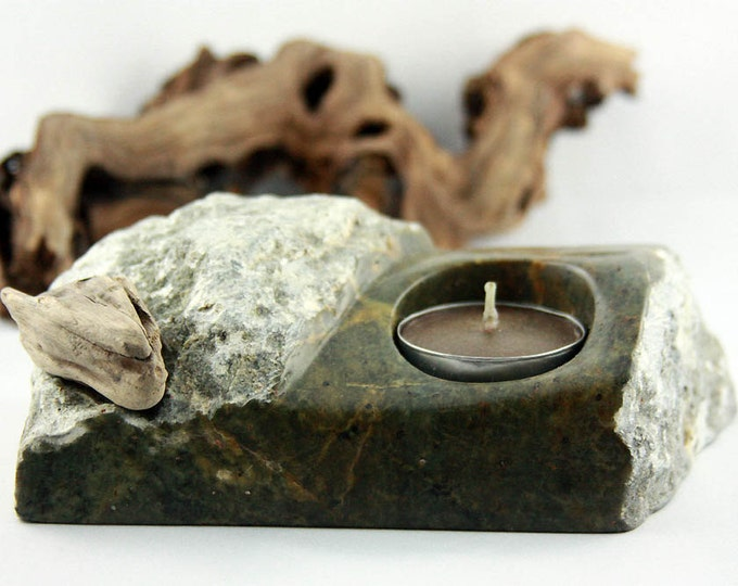 Featured listing image: DÄNU CANDLE HOLDER Stone Tea Light Holder rustic hand-sculptured gift Home interior unique Stone Driftwood Art object reclaimed wood gift