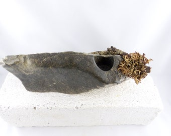 BENT unique STONE CANDLE holder steatite art object, stone sculpture rustic home interior design natural style Christmas Gift
