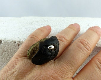 TALIS adjustable DRIFTWOOD SILVER ring, one-of-a-kind wooden ring natural look silver eco-friendly jewelry, handmade womans Christmas gift