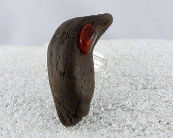 """Unique ADJUSTABLE SILVER Driftwood RING """"Tjelle"""" with amber, natural sustainable fashion wooden ring, one-of-a-kind best friend woman's gift"""
