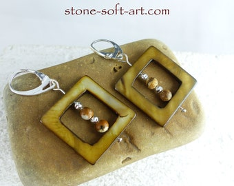 SKADI BROWN NACRE Sterling Silver earrings, genuine jasper beads, dangle statement sustainable ecofriendly one-of-a-kind Bridal Jewelry gift
