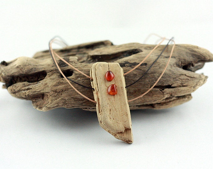 Featured listing image: LINDISFARNE DRIFTWOOD AMBER necklace unique reclaimed wood statement necklace organic jewelry natural design, sustainable free shipping gift