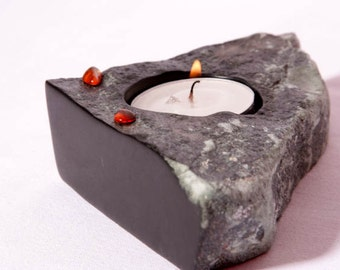 EDU STONE Tea Light Holder AMBER black Brazilian steatite handcrafted gift, candle stone sculpture natural home interior design unique gift