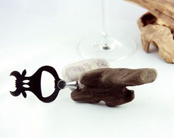 "Bottle Opener ""Cow Curt"" with driftwood handle, rustic upcycled wood Bar and wine accessory, wooden art gift for her and him, free shipping"