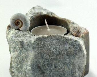 TOIVO TEA LIGHT holder hand-carved stone sculpture, Sea Snail Sea Shell steatite art object, eco-friendly home interior design unique gift