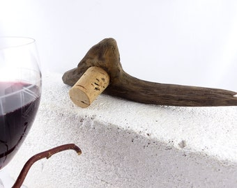 WINE STOPPER DRIFTWOOD Nº 9 Wine gift handcrafted unique driftwood Wine cork drink barware Bottle Stopper custom wood sustainable mens gift