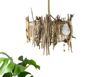 """Ready to ship: Unique CEILING DRIFTWOOD LAMP """"Helsinki"""" Drop Light pendant, sustainable eco-friendly wooden lamp shade, upcycled Home Design"""