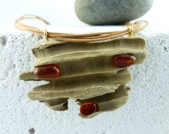 SALTHOLM DRIFTWOOD AMBER statement Necklace light brown Leather straps, silver gold-filled eco-friendly sustainable fashion best friend gift