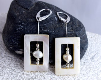 SALOME WHITE NACRE Sterling Silver earrings, genuine freshwater pearl, dangle statement sustainable ecofriendly one-of-a-kind Bridal Jewelry